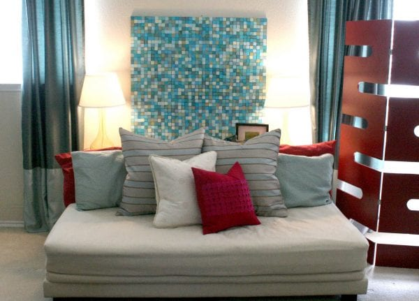 DIY Large Wall Decor: affordable paper mosaic large wall art idea