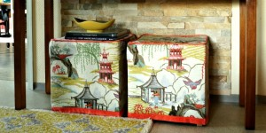feature IKEA ottoman footstools recovered in neo toile - Maggie Overby Studios
