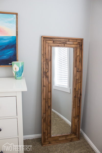 full length mirror with diy wood shim frame - Two Feet First