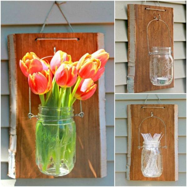 Mason Jar Hanger Vase, Silverware Holder, Or Candle Holder Lantern