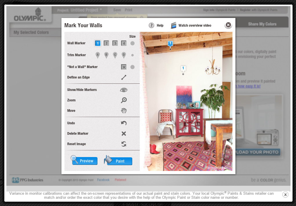 Interior paint visualizer Online visualizer