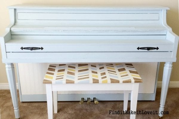 painted piano and bench - Find It Make It Love It