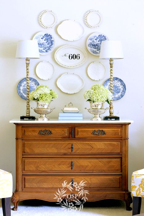 Southern style buffet and plate wall
