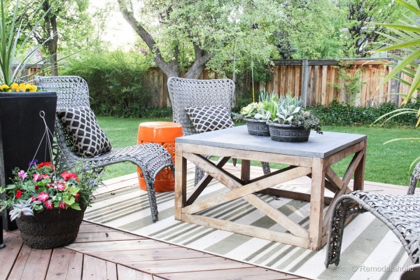 Square Outdoor Coffee Table With Wood X Base, Remodelaholic