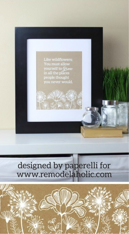 Wildflower Quote Floral Printable Wall Art Paperelli For Remodelaholic