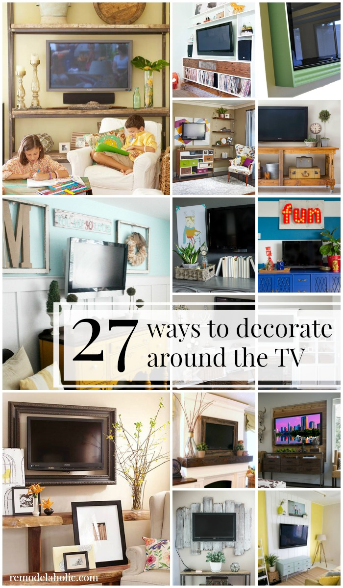 Remodelaholic 95 ways to hide or decorate around the tv for Ideas to decorate