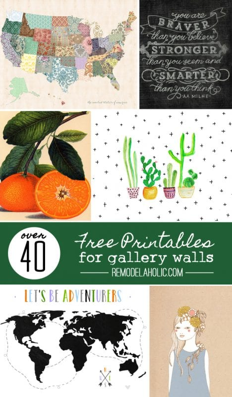 Remodelaholic 40 free art printables for gallery walls for I need art for my walls