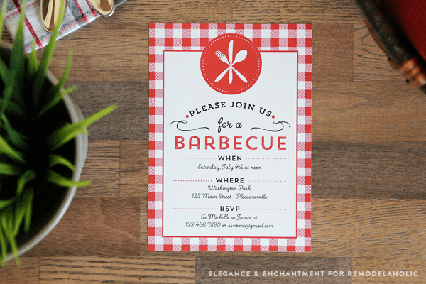 Celebrate summer with a good old fashioned barbecue! Download this free printable BBQ Invitation and customize with your own details. Design by Elegance & Enchantment for Remodelaholic.