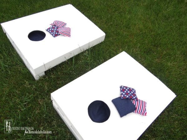 make a kid-sized cornhole set from one pallet, Provident Home Design on Remodelaholic