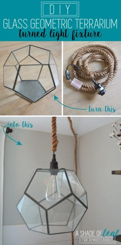 Make your own designer-inspired geometric pendant light using a premade glass terrarium and a light kit. No electrician required!