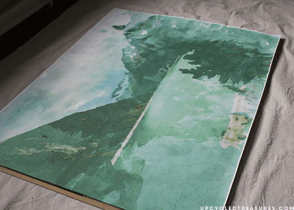 DIY Large Scale Watercolor Wall Art by Upcycled Treasures for Remodelaholic