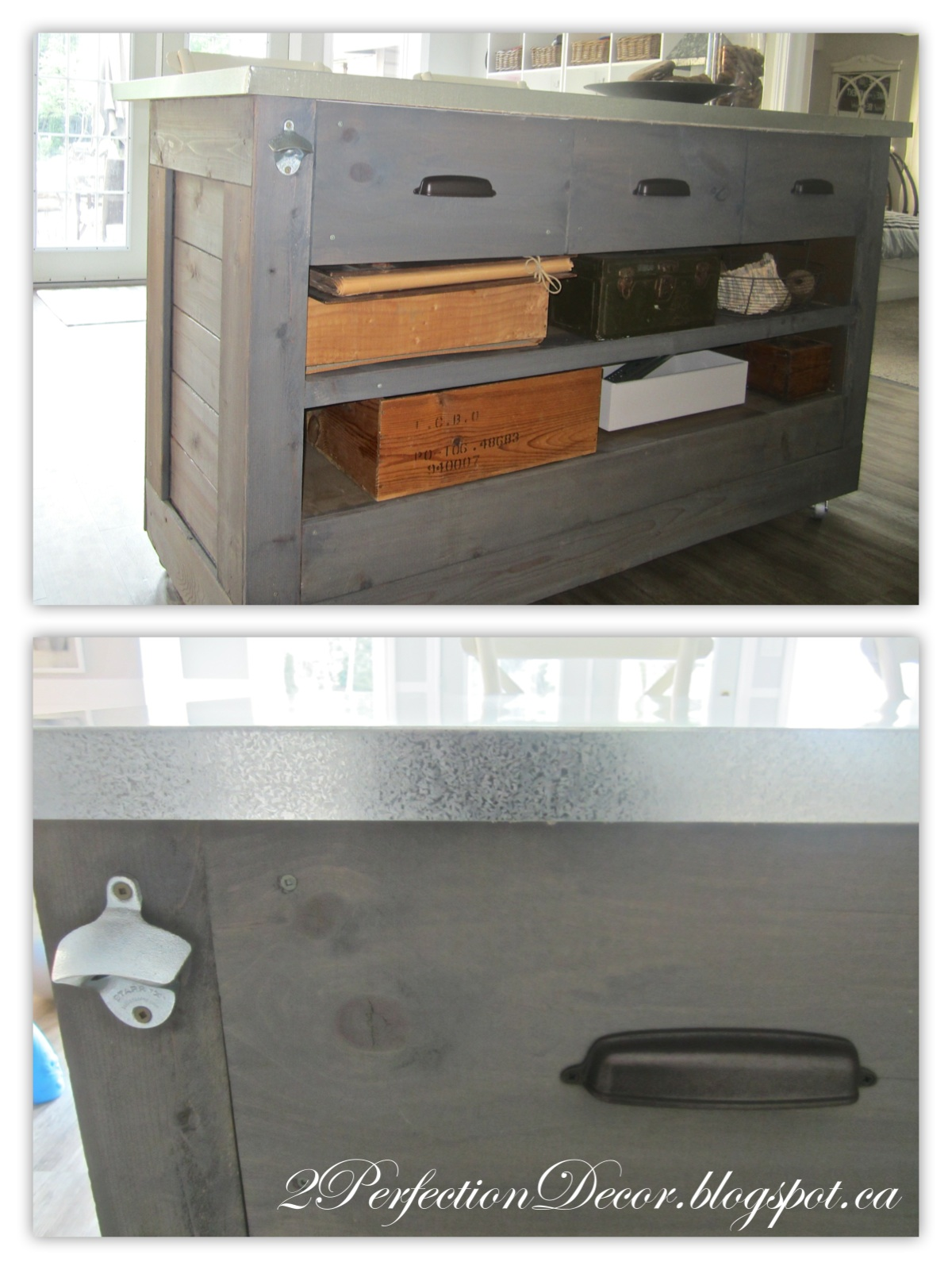 diy rustic bar. DIY Rustic Bar with Galvanized Counter by 2Perfection Decor Blog featured  on Remodelaholic IKEA Hack Metal Top
