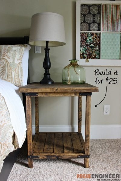 DIY Simple Square Bedside Table Plans - Rogue Engineer