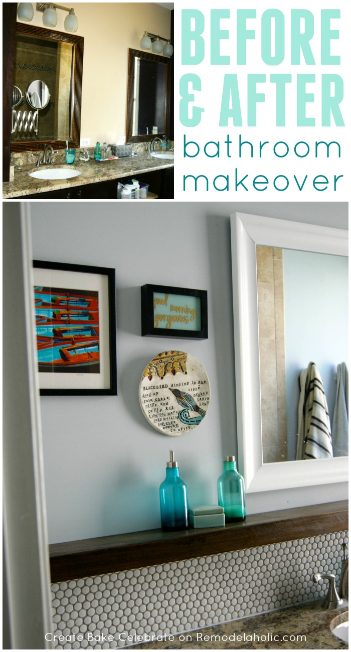 Remodelaholic tips for installing a penny tile backsplash diy bathroom makeover with fresh gray paint penny tile backsplash floating wood shelf dailygadgetfo Gallery