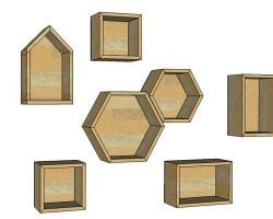 DIY geometric display shelves feature