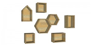 DIY geometric display shelves feature