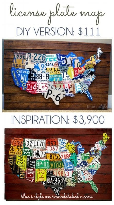Save thousands of dollars and get the designer look for around $100 with this easy DIY license plate map!