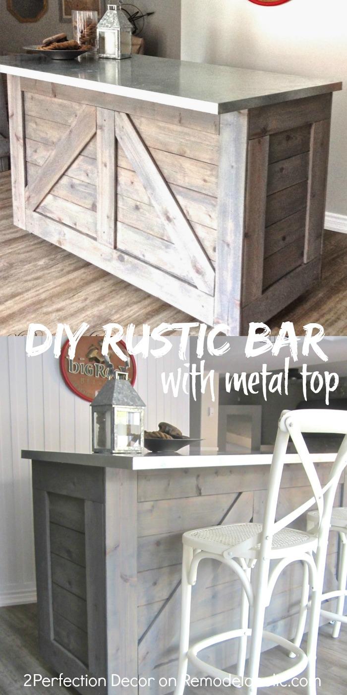 diy rustic bar. DIY rustic bar  hacked from an existing cabinet topped with metal Remodelaholic IKEA Hack Rustic Bar Galvanized Metal Top