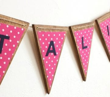 DIY Wood Bunting with Fabric Letters