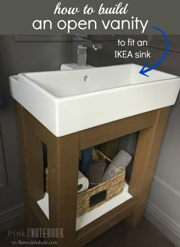 Remodelaholic Build A Simple Open Vanity For An Ikea Sink