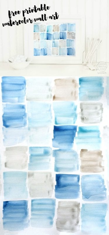 FREE large-format watercolor printable wall art