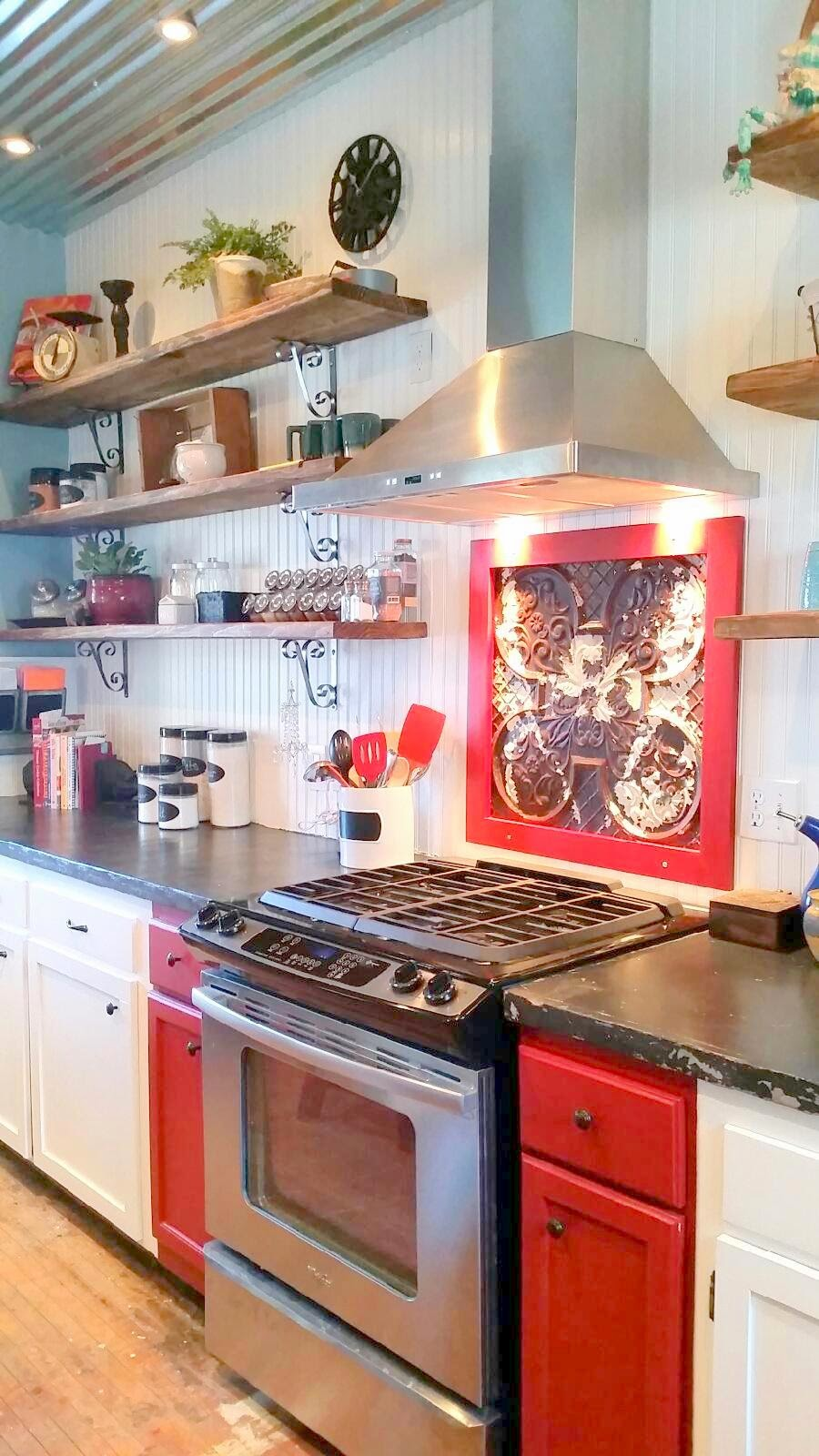 Farmhouse Kitchen Remodel with open shelves and accent red cabinets
