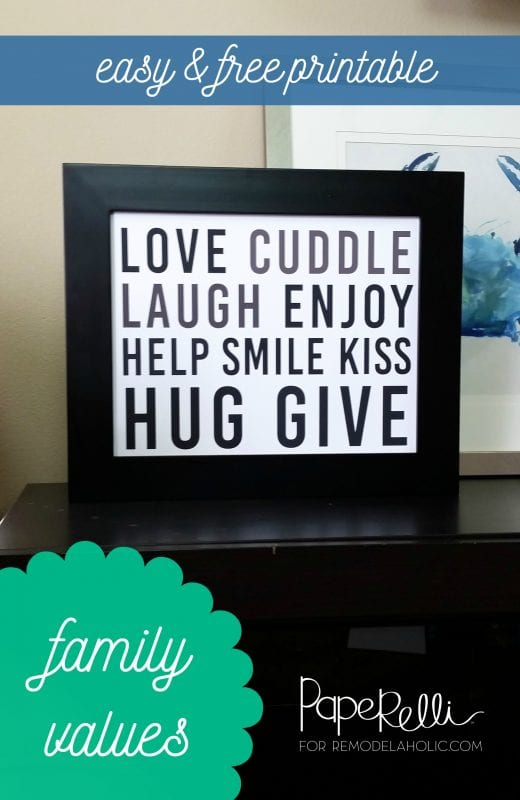 Free easy black and white family values/rules printable