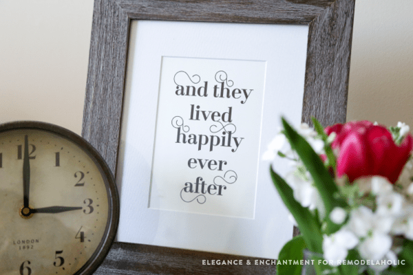 Fancy Typographic Word Art Printables For Couples | and they lived happily ever after