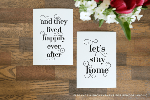 Fancy Typographic Word Art Printables For Couples | and they lived happily ever after, let's stay home