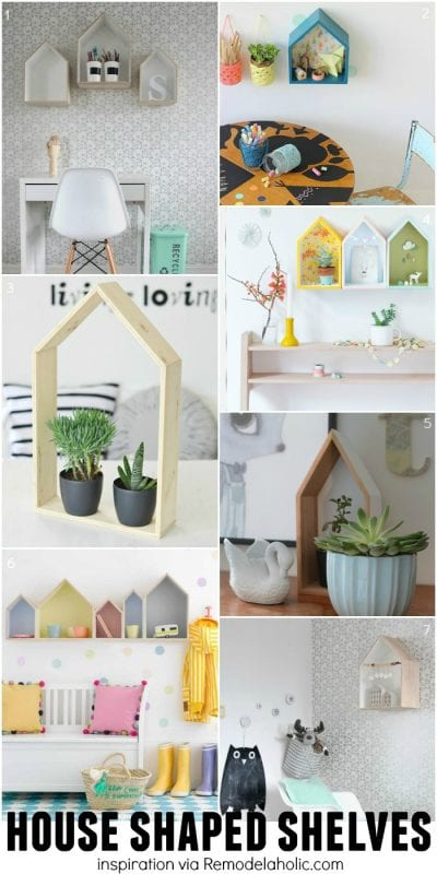 House Shaped Shelves Inspiration - plus a building plan for the easy geometric shelves!