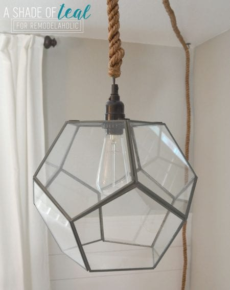 How to Make a Light Fixture from a Geometric Terrarium by A Shade of Teal featured on Remodelaholic