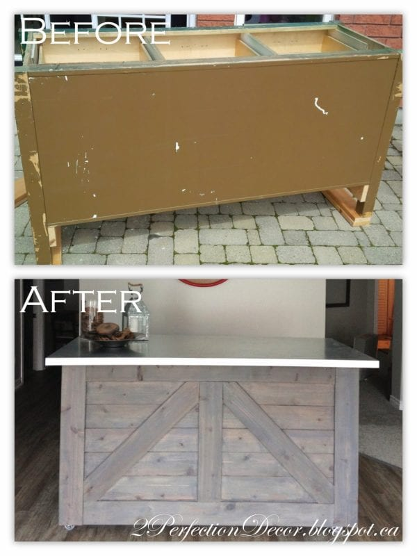 How to Upcycle a Cabinet into a Rustic Wooden Bar by 2Perfection Decor Blog featured on Remodelaholic