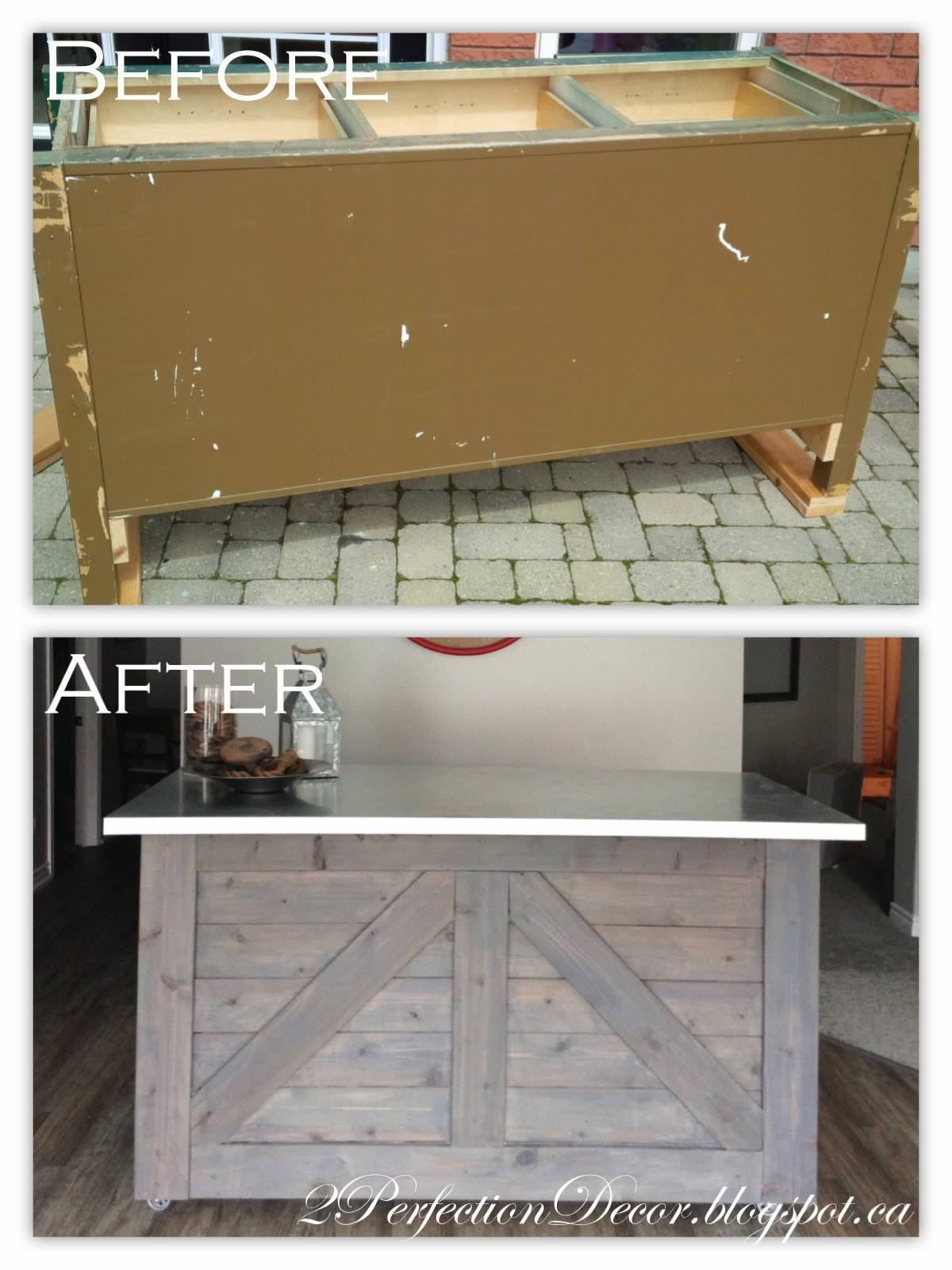 Ikea hack rustic bar with galvanized metal top for Building ikea kitchen cabinets