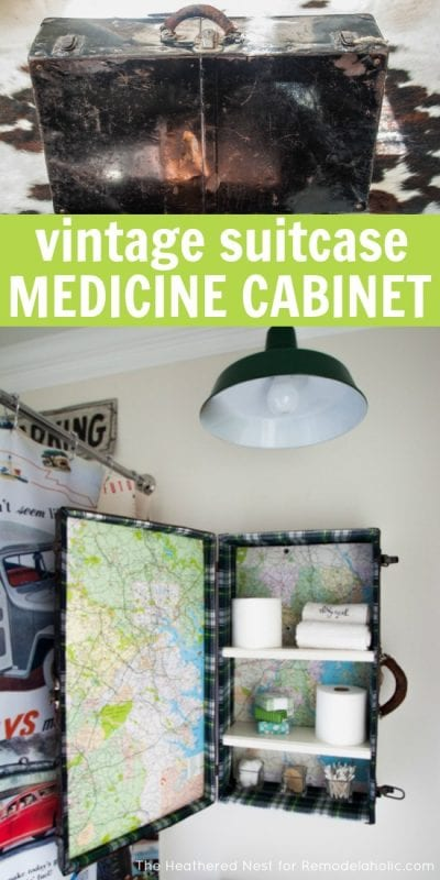Make an awesome and unique DIY medicine cabinet from a vintage suitcase! Just added to this to my to do and to thrift list