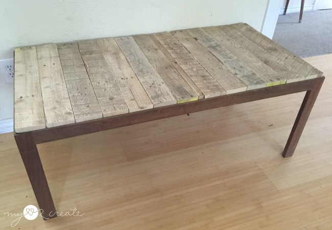 Inspirational Pallet wood cut and put on table top to replace glass