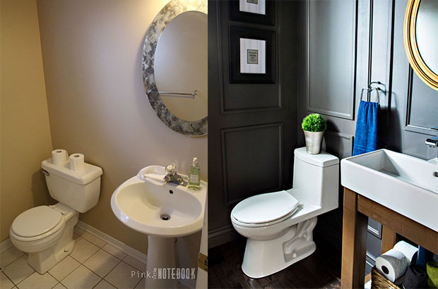 Powder Room Makeover With IKEA Sink Open Vanity Tutorial By Pink Little  Notebook Featured On Remodelaholic