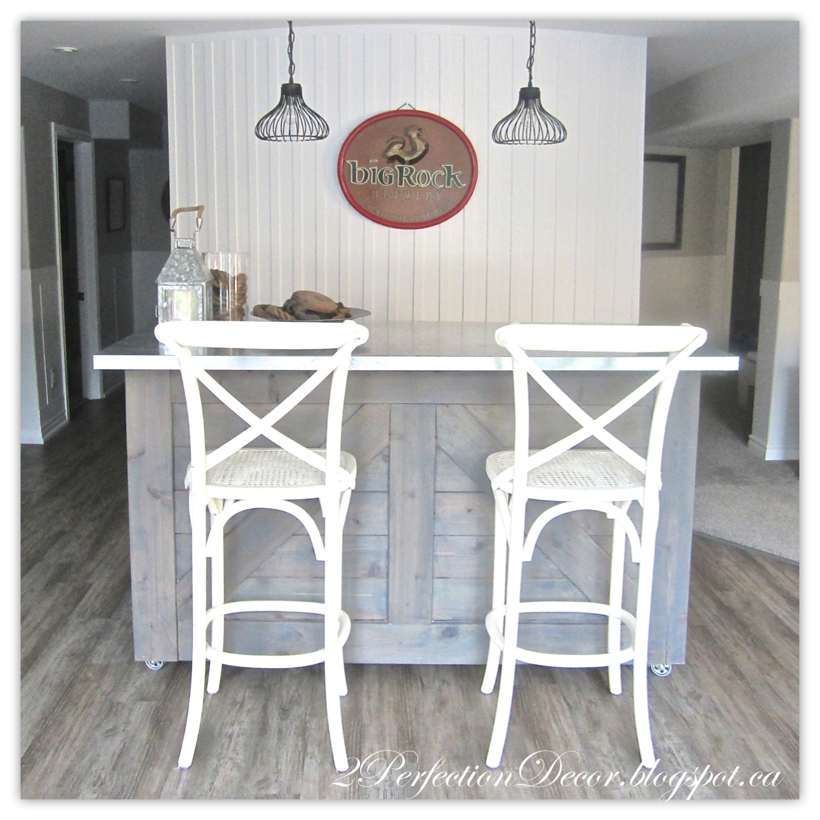 Stunning Rustic Bar with Galvanized Counter Top by Perfection Decor Blog featured on Reodelaholic