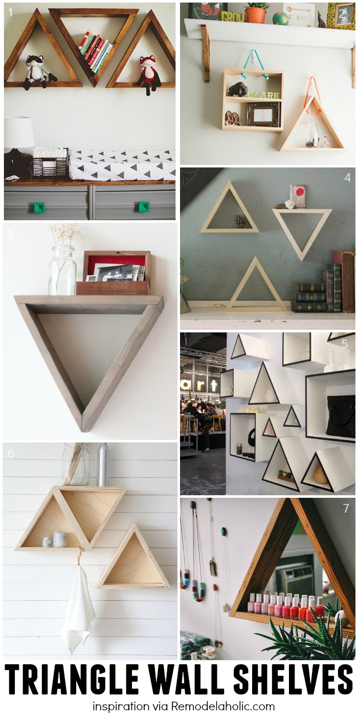 Remodelaholic diy geometric display shelves triangle wall shelving ideas plus a building plan for the easy geometric shelves amipublicfo Gallery