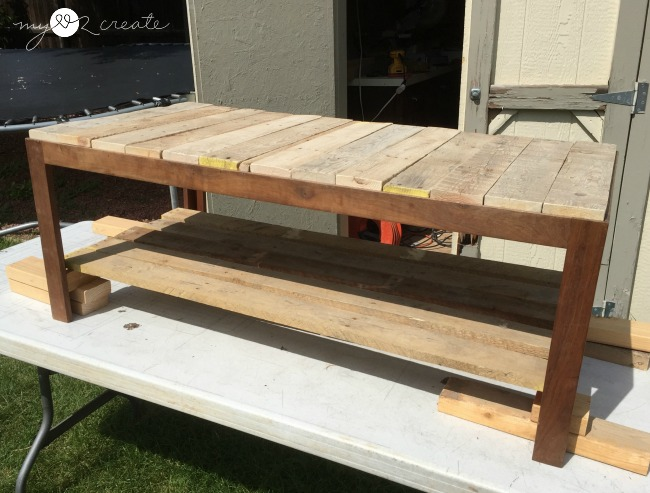 Trying out pallet wood for bottom shelf