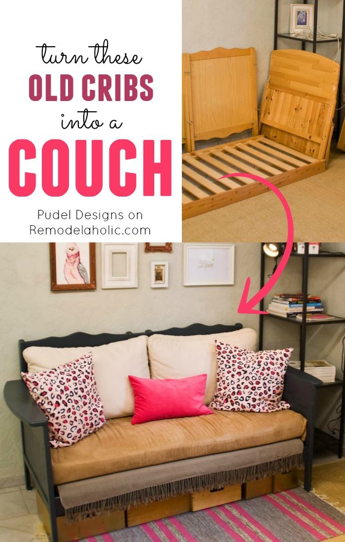 Repurpose a couple old cribs into a nice loveseat style couch or sofa! & Remodelaholic | Upcycled Crib into Couch