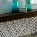 bathroom update with penny tile backsplash