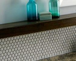 bathroom update with penny tile backsplash