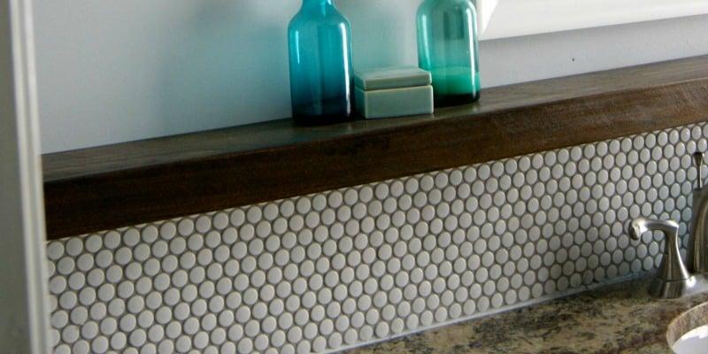 Tips for Installing a Penny Tile Backsplash + Floating Shelf