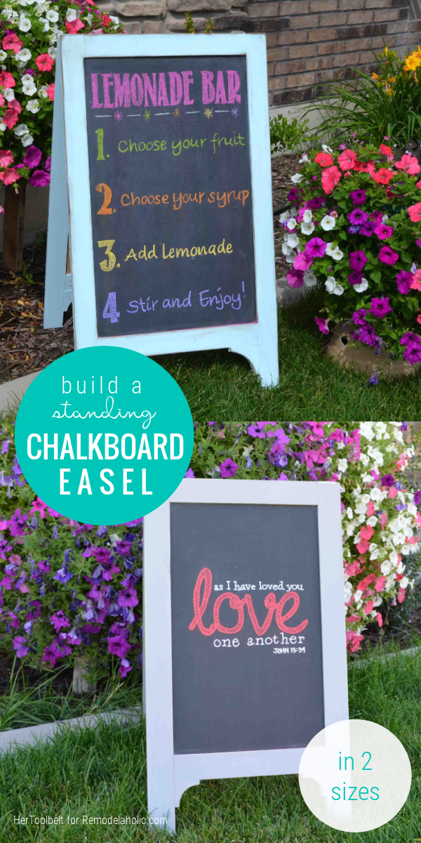 Build A Small Or Large Standing Chalkboard Easel Sign, Woodworking Plans Remodelaholic