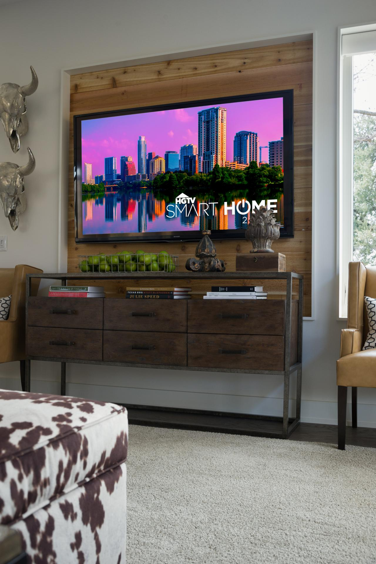 Remodelaholic 95 ways to hide or decorate around the tv build a wood television niche hgtv amipublicfo Gallery