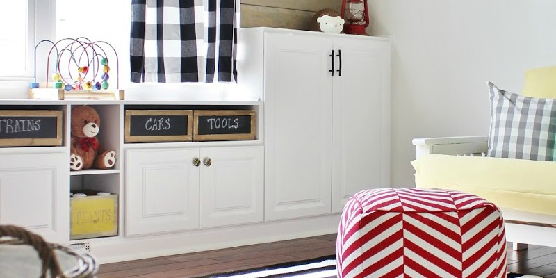 Playroom Makeover With Built In Cabinets For Storage