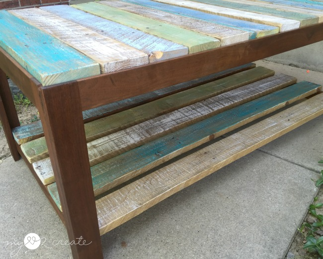 close up of coffee table with pallet top