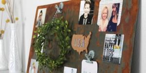 diy aged metal magnet board wall art