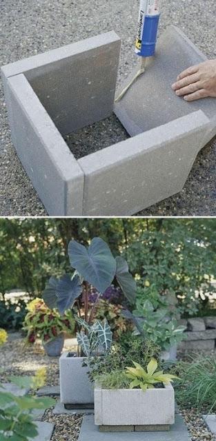 diy cement paver planters