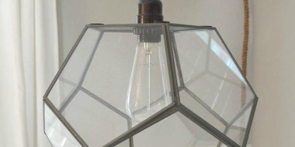 diy geometric light fixture from a terrarium